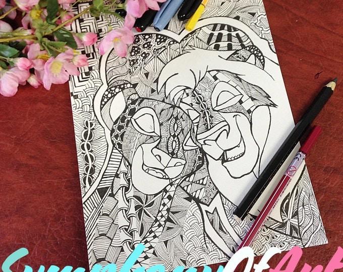 Doodle Adult Coloring Page, PDF Zentangle Coloring Page, Line art, Printable Coloring Page, Download, Lion King love