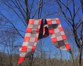 Vintage Bold Plaid Satiny Scarf in Red, Black and White