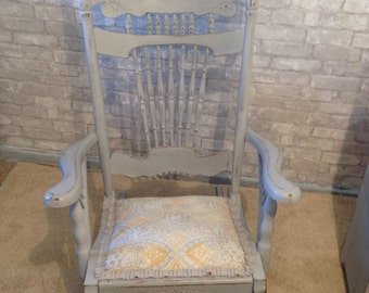 Grey Hand-painted Upholstered Rocking Chair