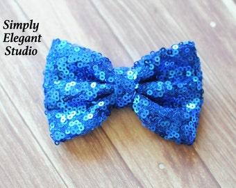 Blue Sequin Bows, Headband Bows, Craft Bow Supply