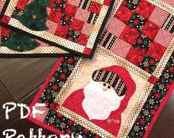 Santa Quilt Pattern, Christmas Table Runner Pattern, Mug Rug Pattern, Christmas Quilt Pattern, Christmas Sewing Pattern, PDF Quilt Pattern