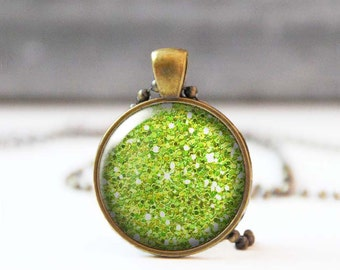 Lime Green Glitter Necklace, Chartreuse Picture Pendant, 25 mm 1 Inch Round Photo Necklace, Sparkle Necklace, Bridesmaid gift, 5015-S17