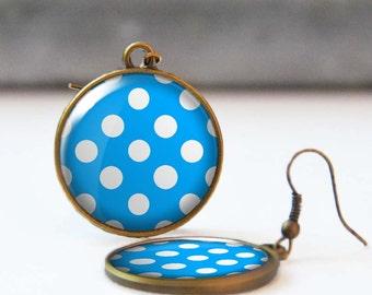 Blue polka dot earrings, Rockabilly Jewelry, Round dangle earrings, Resin Jewelry for her, Retro 50's earrings, Easter gift, 5006-11