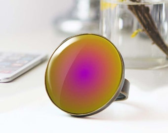 Large statement Ring, Psychedelic Ring, Purple and yellow photo ring, Hippie Cabochon ring,  ring, Gradient ring, 5036-2