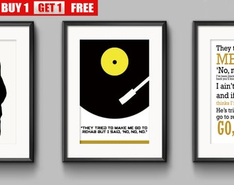Amy Winehouse, Back To Black, Rehab, Valerie. Three prints for the price of one.