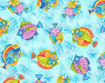 Jewels of the Sea - BTY - Quilting Treasures - Tropical Fish on Aqua