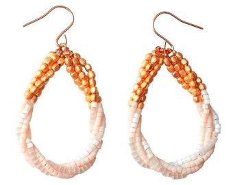Delica® Seed Beads Gold Colorblock Twisted Teardrop Earrings - White & Transparent