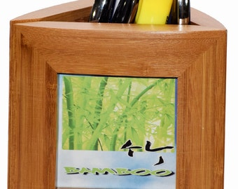 Bamboo Picture frame pen holder
