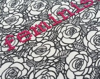 """Feminist KIT or GIFT embroidery 6"""" hanging mental health charity awareness diy gift cross stitch kit feminism Gothic floral monochrome rose"""