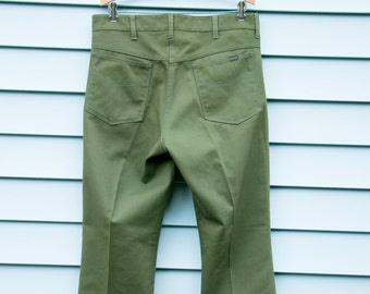 Rare Vintage Sears Roebucks Perma-Prest W36x33, 1960's, Forest Green, Sta-Prest, Excellent Condition, Park Ranger, Hipster