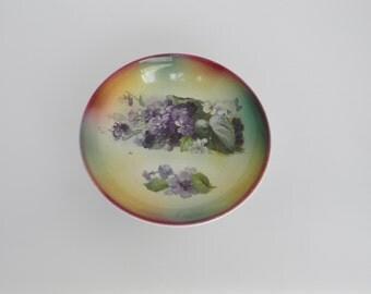 Antique Franz Anton Mehlem Bonn Germany Porcelain Floral Bowl Circa 1885-1891- FREE USA SHIPPING