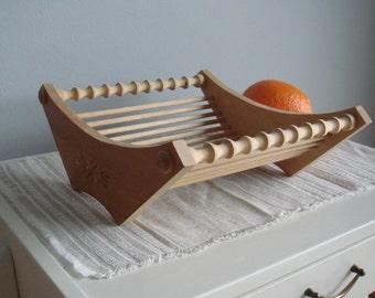 Soviet Vintage Wooden Fruit Basket, Fruit Bowl, Bread Basket, Wooden Basket, made in USSR.