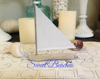Driftwood Sailboat  Linen Sails Seaside Nautical Decor Wedding Center Peice
