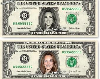 Kate Middleton on Real Money - Handmade Custom Dollar Bill Art