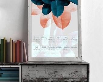 Yearly Wall Calendar, Large Wall Calendar, Wall Calendar 2017, Tropical Calendar, Printable Calendar 2017, Large Calendar, Yearly Calendar