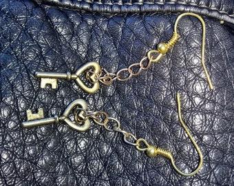 Dangling Brass Key Earings