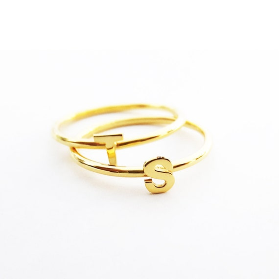 gold stackable initial ring personalized ring letter ring