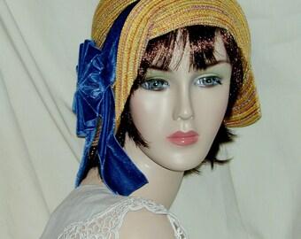 Gold Mustard 1920's summer straw flapper Miss Fisher cloche Downton Abbey Gatsby hat