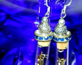 Steampunk Upcycled Watchworks sterling silver earrings with blue rhinestones