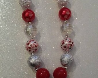 Santa Claus, Chunky bead necklace, Holiday necklace