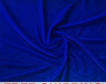 Stretch Velvet Royal Blue Fabric-60'' Wide-Sold by the yard-Perfect for Apparel Costumes & Crafts. Free Shipping!!