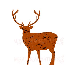 Buck distressed  SVG   cut file  t-shirts  animals deerscrapbook vinyl decal wood sign cricut cameo Commercial use