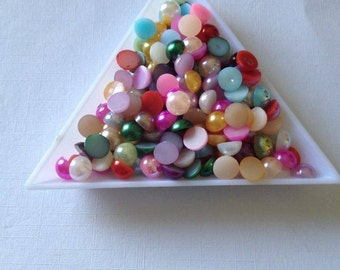 6mm  x 100 flatback pearls resin crafts scrap booking card making crafts frames decorating cabochon