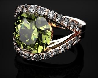 Peridot Engagement Ring Rose Gold Engagement Ring Peridot Engagement Ring Gemstone Ring Peridot Ring Peridot August Birthstone Ring