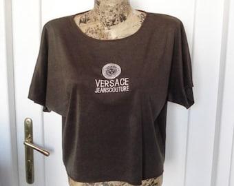 90s Versace brown lycra Medusa T-Shirt