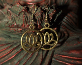 Bronze Lotus Dangle Earrings