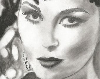 Faye Dunaway portrait - copy of original drawing, digital copy, immediate download, portrait art vintage, vintage movie stars