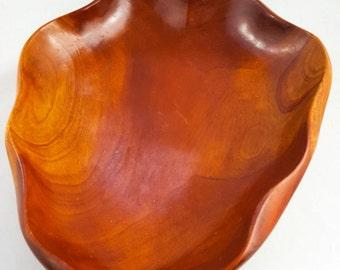 Mid Century Mahagony Wood Leaf Platter
