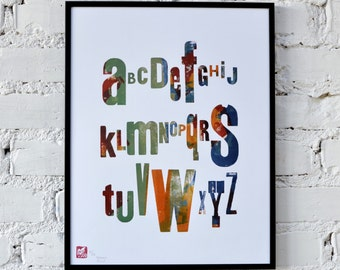 Multicolour alphabet - letterpress poster