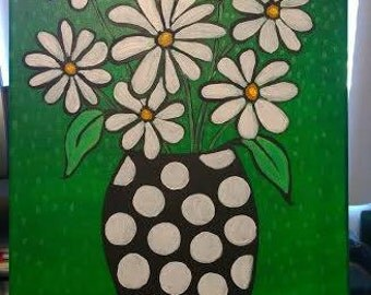 Acrylic Abstract White Flowers in Vase Painting