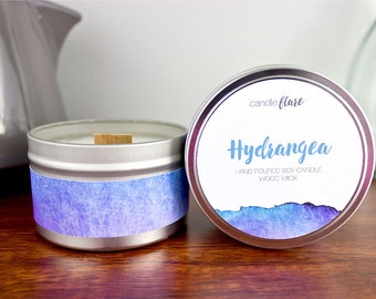 HYDRANGEA Soy Candle in 8oz Tin, Wood Wick Candle, Floral Candle, Spring Candle, Hydrangea Candle, Scented Soy Candle, Tin Candle