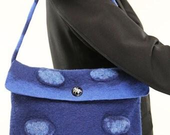 Felt Hand Bag,  blue Felt, Hand Felted Women's bag, felt fashion, wool felt, Merino Wool accessories,