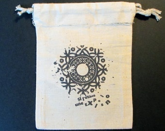 natural cotton pouch with cords