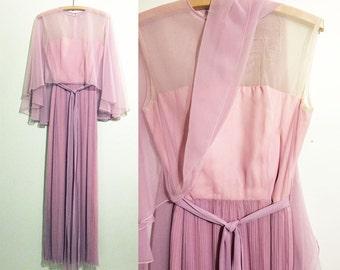 70s Pink Chiffon Column Dress, Fine Pleated Skirt, Sheer Wings, Long Belt. Mauve Evening Gown. Sophistiqué Coronette Frocks Toronto.