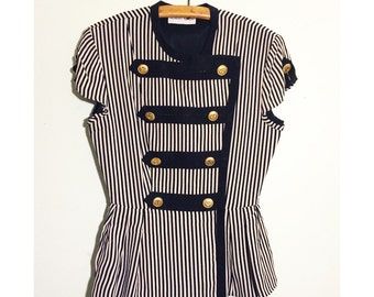 SALE** Vintage Albert Nipon Blouse, Striped Black and White, Brass Buttons, Tapered Waist, Military Soldier Uniform, Size 8