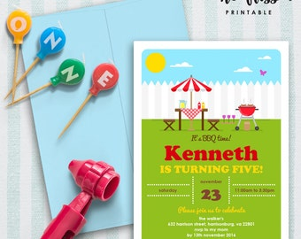 BBQ Party Invitation   5x7   Editable PDF File   Instant Download   Personalize at home with Adobe Reader