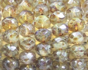 Czech Glass Rondell, 8x6mm, 25 Beads