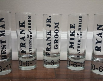 Groomsmen Shot Glasses, Wedding Shot Glasses, Groomsmen Gifts, Bachelor Party, Father of the Bride, Father of the Groom
