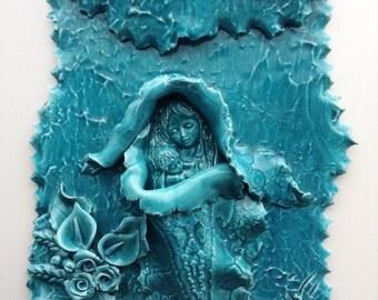 Saint Mary vintage by Vittoria Valmaggia | Saint Mary with Jesus | religious items | Christian items | Sardinia ceramics | wall hanging