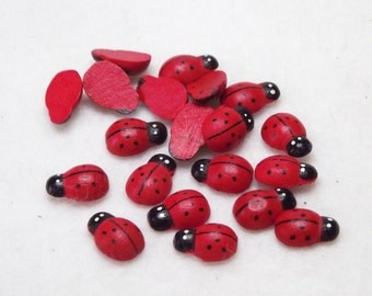 Cute Little Wooden Ladybugs for Crafts and Wood Craft Projects - Package of 25