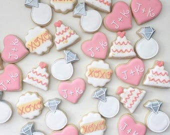 Wedding cookies, Wedding favors, Mini cookies, Treat Table, Customizable, Engagement cookies