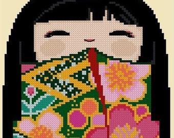 Cute Kokeshi Girl KAZUKO -Cross Stitch Pdf Pattern
