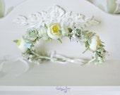 Floral crown Bridal flower crown Pastel wedding halo Roses ranunkulyus head wreath mint green crown flowers Boho bride