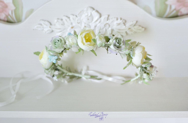Floral Crown Bridal Flower Crown Pastel Wedding Halo Roses