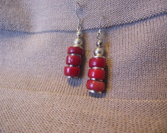 Dangle Red and Silver Earrings