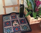 Frida Kahlo Art / Breakfast Tray / Tropical Decor / Ottoman Tray / Desk Organizer / Entryway Table / Latino Art / Key Mail Storage / Auntie